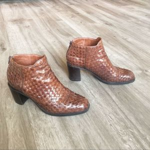 Cole Haan Woven Leather Booties Brown Size 7